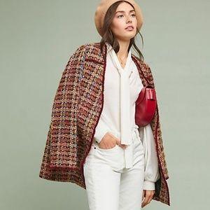 Anthropologie Wool Harlequin Tweed Blazer Brown